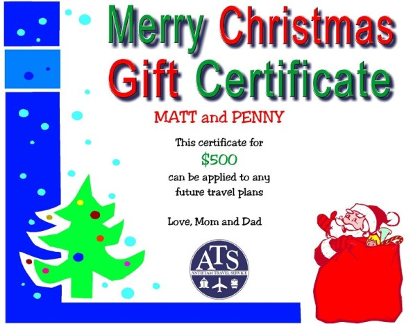 Christmas Travel Gift Certificate
